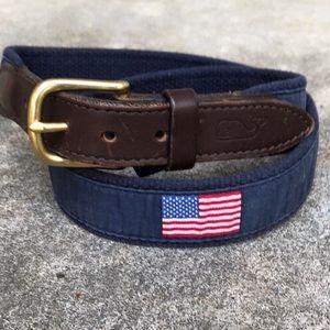 Vineyard Vines Men's American Flag Canvas Belt